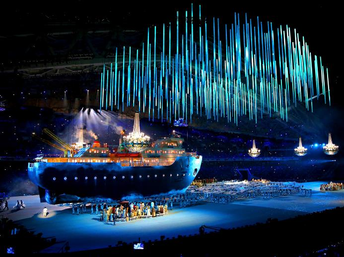 The MIR icebreaker at the Paralympics Opening Ceremony in Sochi. © Sochi.ru