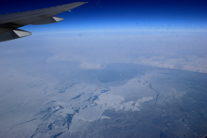 What if an aviation disaster occurred in the Arctic or sub-Arctic? Pictured: Flying above the Sea of Okhotsk en route from Newark to Narita. © Mia Bennett, March 2012.