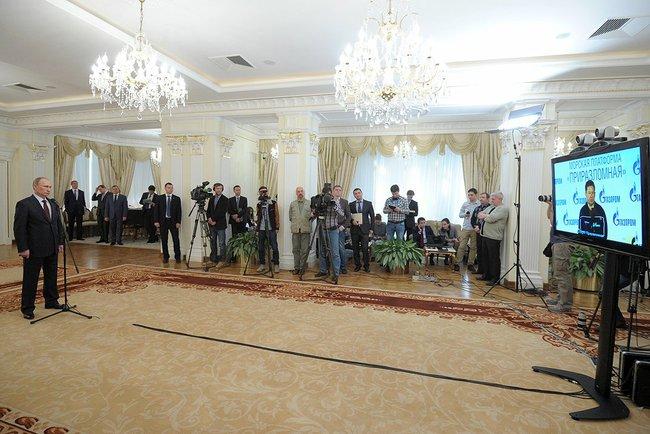 Putin announces first shipment of oil from Pri. © Kremlin.