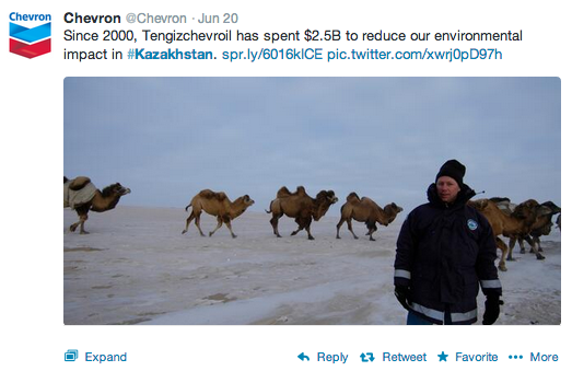 Chevron's tweets about Kazakhstan. © Chevron 2013