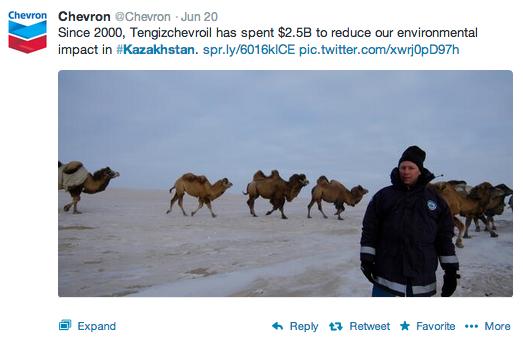 Chevron's tweets about Kazakhstan. © Chevron 2013
