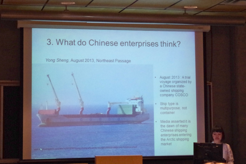 Linyan Huang speaking about Chinese shipping interests. © Mia Bennett.