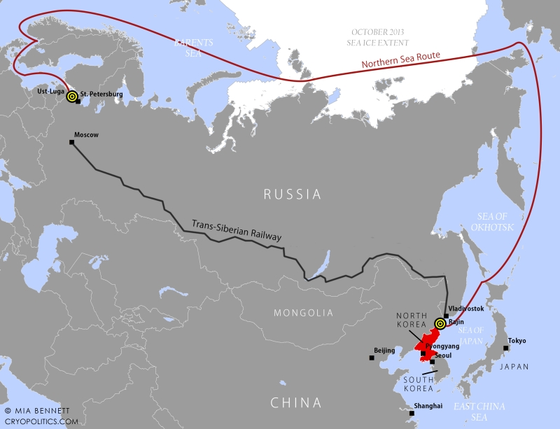 The voyage taken by the HHL Hong Kong from Ust-Luga, Russia to Rajin, North Korea in 2013.