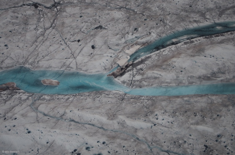 A supraglacial river in Greenland with cryoconites (the black holes) on both sides. © Mia Bennett, August 2014.