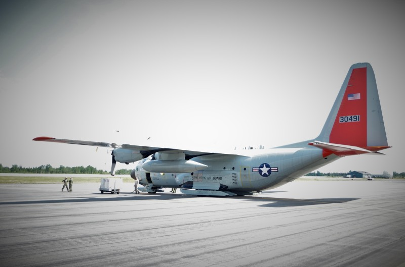 Our C-130 refueling in Goose Bay, Labrador, Canada. © Mia Bennett, August 2014.