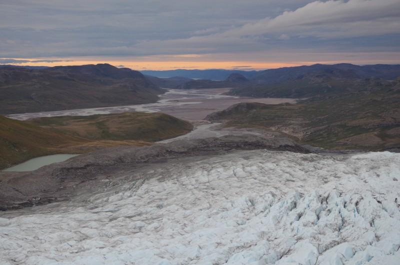 The view above the crevasse fields at the edge of the Russell Glacier above Kangerlussuaq, Greenland. © Mia Bennett, August 2014.