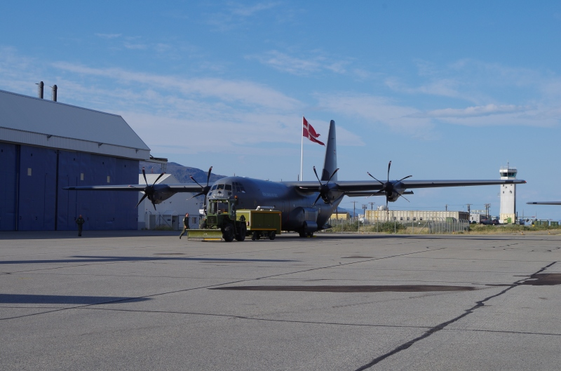 Royal Danish Air Force C-130 in Kangerlussuaq. © Mia Bennett, August 2014.