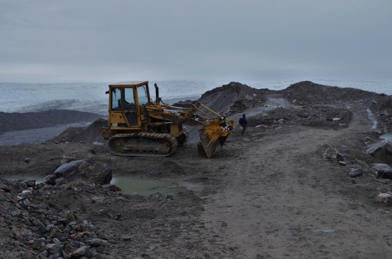 Bulldozer near the Greenland Ice Sheet at the end of the road from Kangerlussuaq. © Mia Bennett, August 2014.