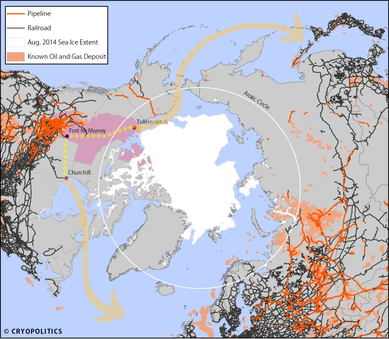 A map of pipelines and railroads. Note the lack of either infrastructure in the Arctic.