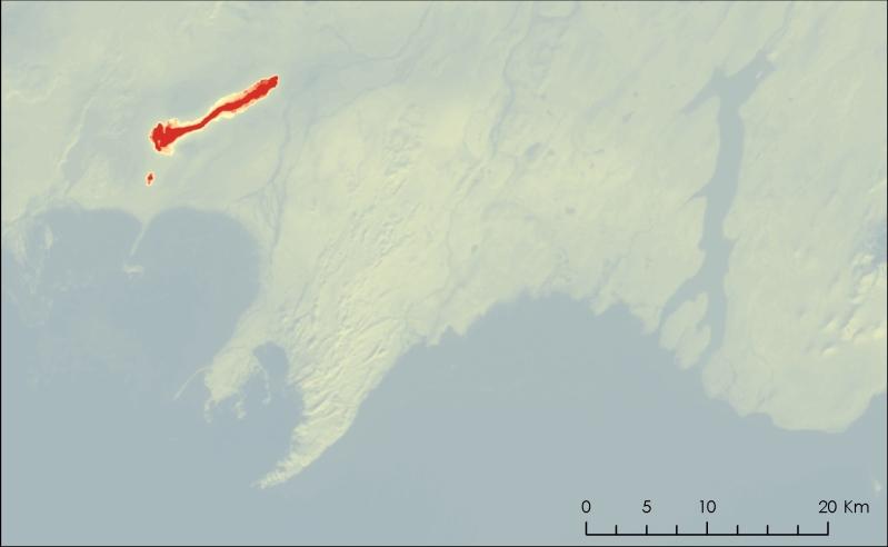 Landsat 8 thermal image (Band 10) over Bardarbunga and Halslon reservoir.