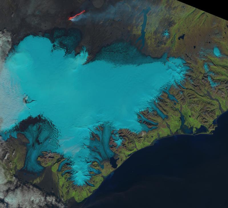 NASA/USGS TrueColor Landsat 8 image of Bardarbunga and Halslon reservoir, September 6, 2014.