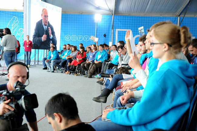 Russian President Vladimir Putin speaks to youth at Seliger-2014. © Press and Information Office of the President of Russia.