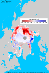 August 2014 Arctic sea ice anomaly image from the University of Hamburg's