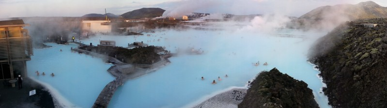 A view of the Blue Lagoon, created by a geothermal power plant, from above. Photo © Mia Bennett.