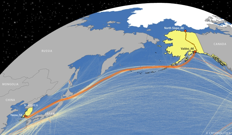 Presumed Route of Polar Discovery tanker carrying oil from Alaska to South Korea.