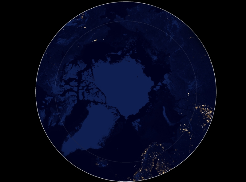 Composite image of night lights in the Arctic, as imaged in April and October 2012 by SUOMI NPP's Day/Night Band. Data downloaded from NASA Earth Observatory.