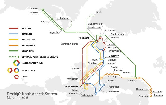 Eimskip shipping network map. © Eimskip.