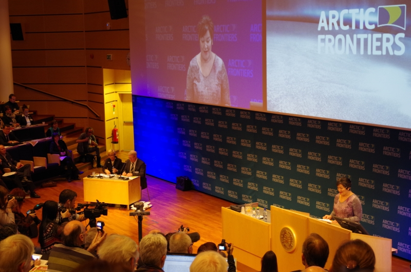 Greenland's Former Prime Minister Aleqa Hammond addresses attendees at Arctic Frontiers, January 2014. © Mia Bennett.