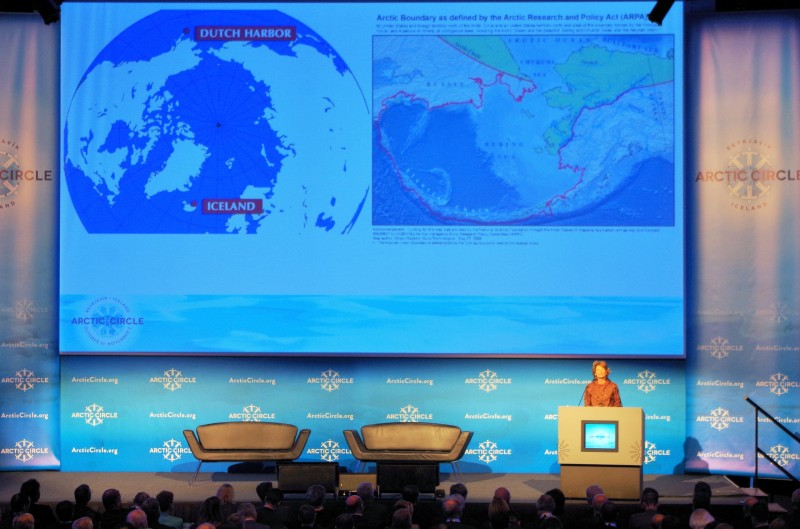 U.S. Senator Lisa Murkowski addresses Arctic Circle 2014 in Reykjavik, Iceland. © Mia Bennett.