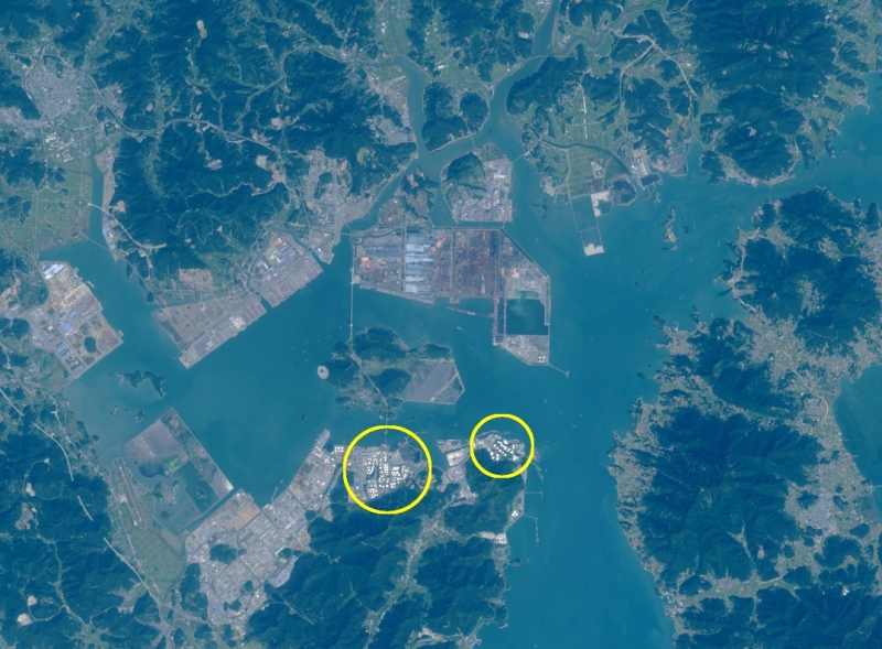 Landsat 8 image of the Port of Yeosu on September 28, 2014. Oil storage tanks circled.