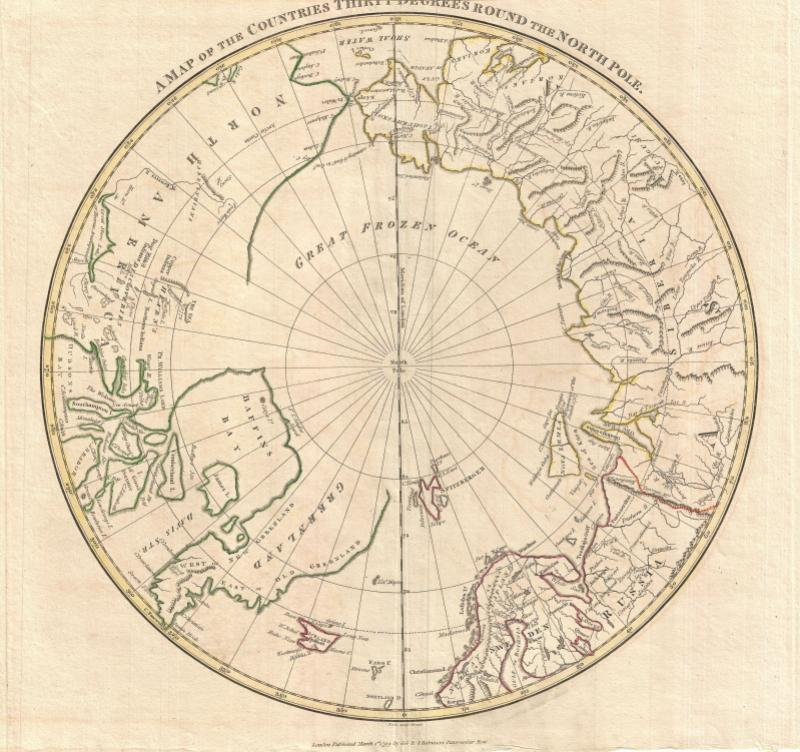 What time is it at the top of the earth? 1799 Clement Cruttwell Map of North Pole. From Wikimedia Commons.
