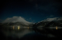 2am in northern Norway, as viewed from the Hurtigruten ship leaving Tromsø.