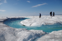 Measuring the rivers on top of the ice sheet. August 2014.
