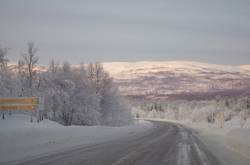 Driving on Senja, Norway. January 2014.