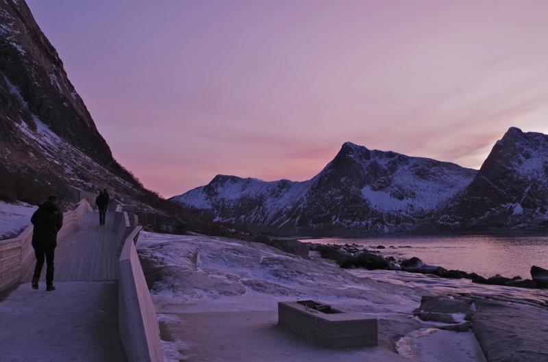 Purple skies over Tungeneset, Norway. January 2014.