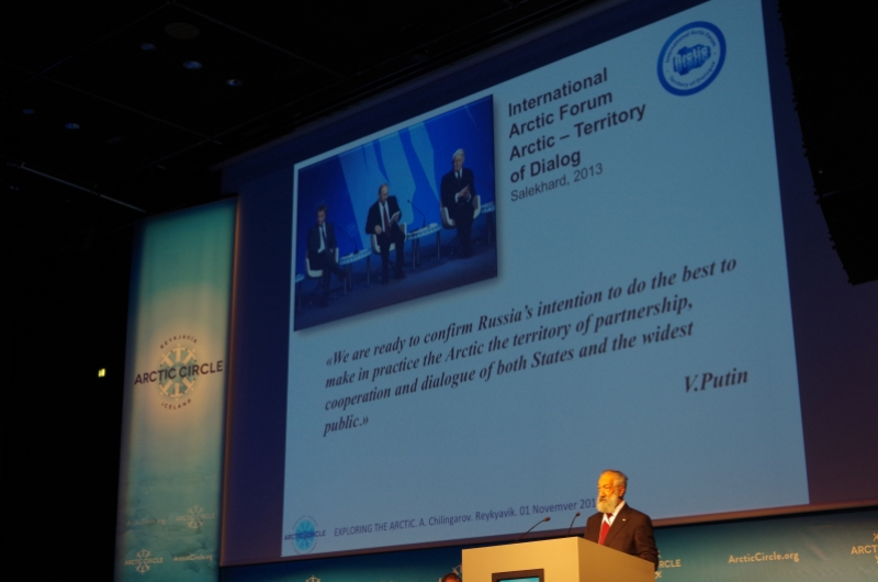 Russian Polar Hero Artur Chilingarov speaks at Arctic Circle 2014 in Reykjavik, Iceland.