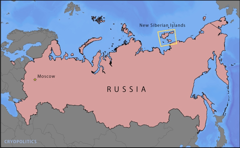 The New Siberian Islands in relation to the rest of Russia.