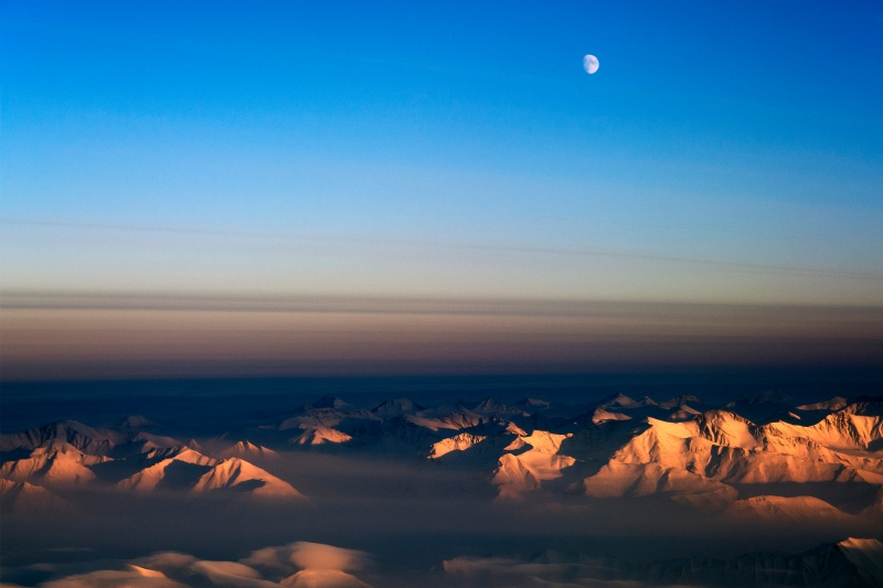 The moon over northeast Greenland. Photo: Michael Studinger/NASA Earth Observatory