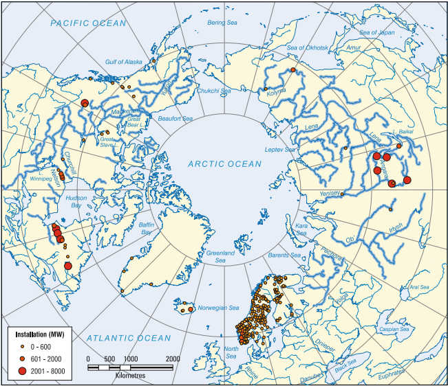 A map from Prowse et. al. (2011)illustrating the major hydroelectric power stations in the Arctic that are located on rivers that tend to have significant amounts of ice.