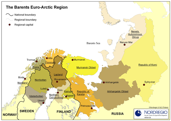 A map of the Barents-Euro Arctic Region, from Nordregio.