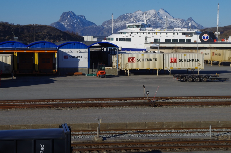A German freight rail company presence at the rail yard in Bodø Train Station, Norway. © Mia Bennett, 2015.