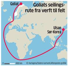 Goliat's route. From Aftenposten.