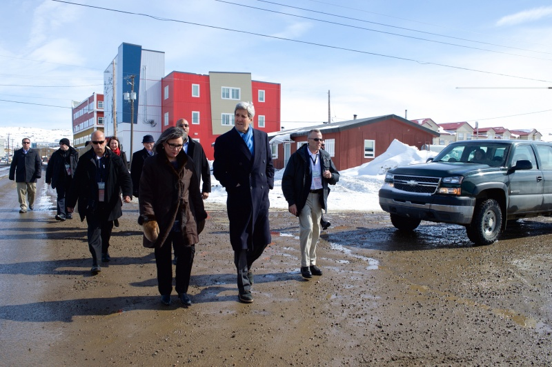 Arctic Council Chair Leona Aglukkaq and U.S. Secretary of State John Kerry in Iqaluit for the Arctic Council Ministerial on April 24, 2015. Photo: U.S. Dept. of State/Public Domain.