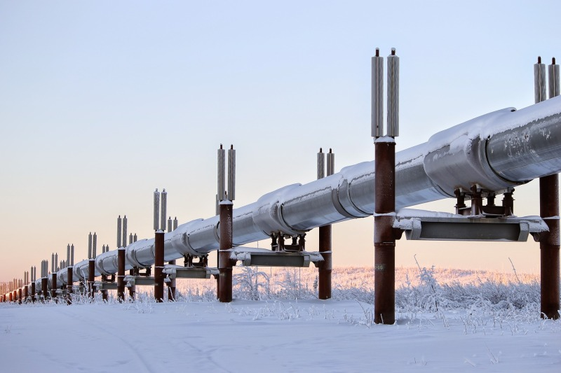 Trans-Alaska Pipeline in winter.