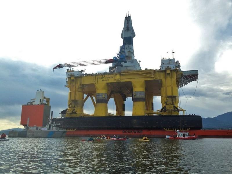 Shell's Polar Pioneer drill rig docked in Port Angeles aboard Dockwise's Blue Marlin.
