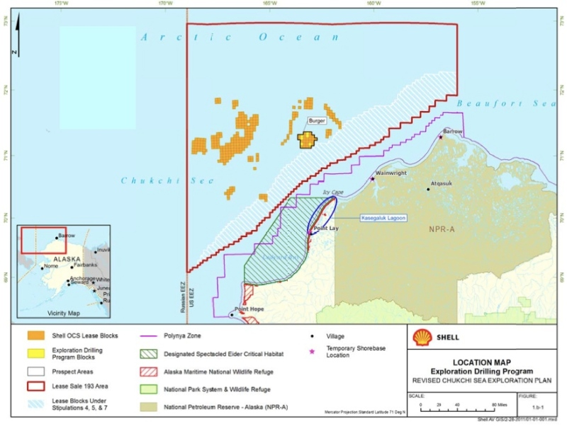 Shell's leases in 2012 go almost all the way up to the Russian EEZ.