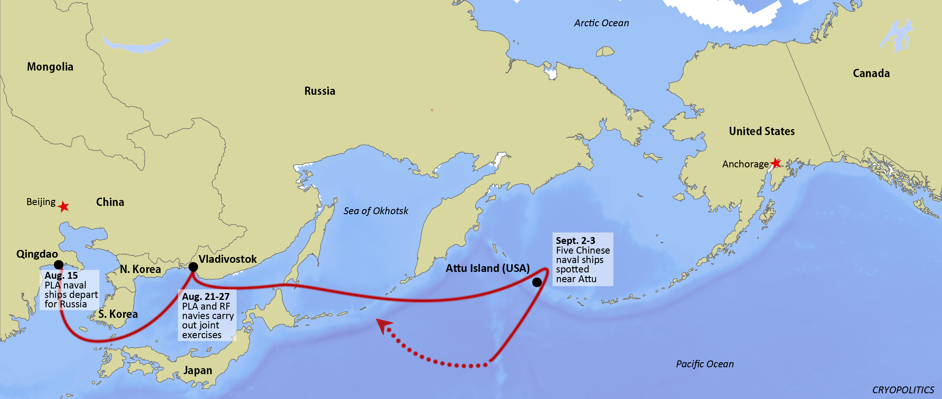 Chinese Naval Ships Near Aleutians Highlight History Of Asian - Us map in chinese