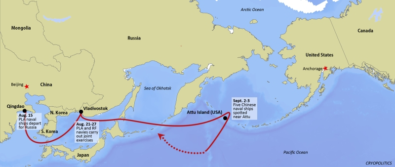 A map showing the likely route taken by Chinese naval ships to the Aleutian Islands in Alaska.