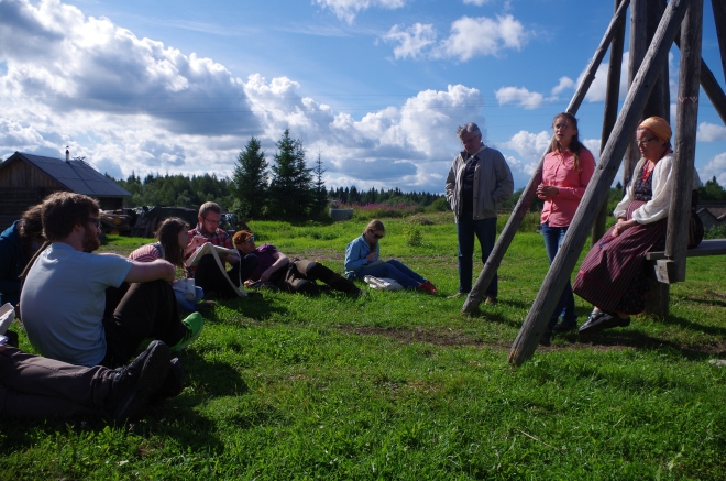 Learning about the history of Kinerma, a traditional Karelian village.