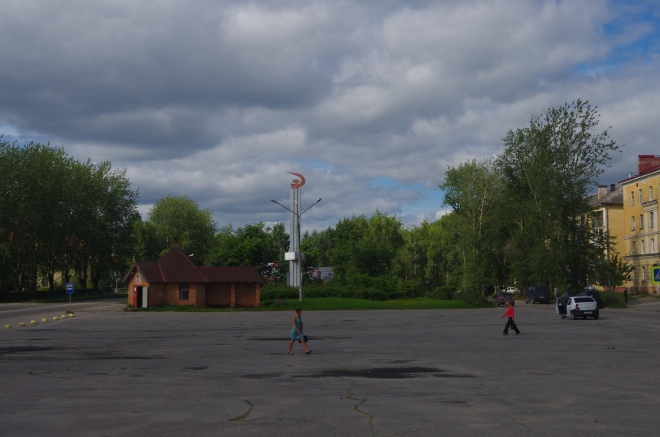 The main square in Segezha, Republic of Karelia, Russia, where the main street is still named after Lenin.