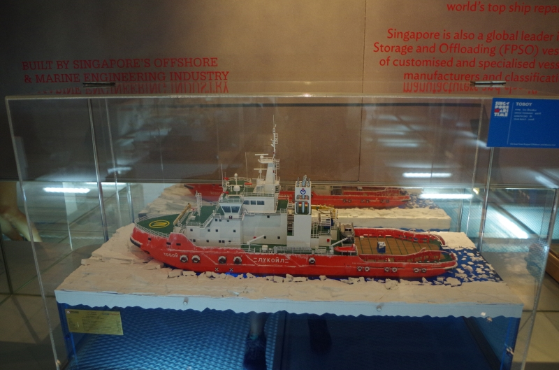 A model of the icebreaker Singmarine built for Lukoil, on display at the Singapore Maritime Gallery.