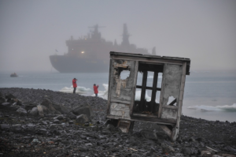Empty structures leftover on Hooker Island from mid-20th-century Soviet scientific efforts in Franz Josef Land. Today, the island may be turned into a tourism destination. Photo: Tatiana Posepelova