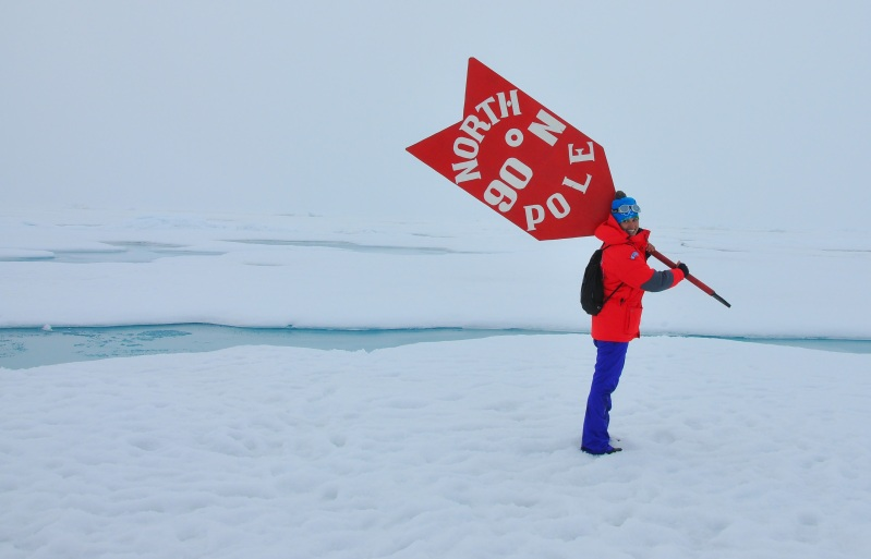 Tatiana Po stands at the North Pole, August 2015. Photo: Tatiana