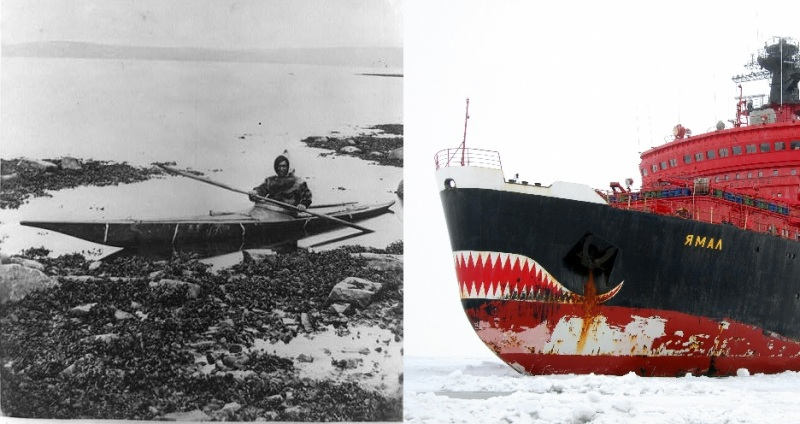 Arctic shipping yesterday and today. L: An Inuit man in a kayak, 1864. Photo: Library of Congress. R: The Russian nuclear icebreaker Yamal. Photo: Wikimedia.