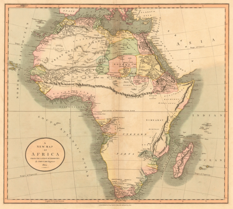 A map of Africa from 1805 with