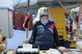 A vendor at the market in Yakutsk, Russia.